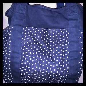 Navy dancing dot Thirty-One tote .